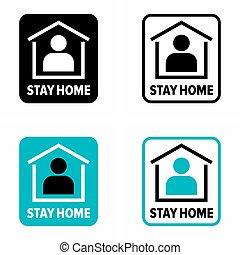 """home"""", espalhar, infecção, """"stay, automático, isolamento,..."""