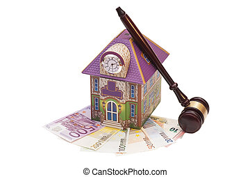Home, euro money and gavel isolated on white. Real estate concept