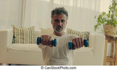 home., exercice, homme mûr
