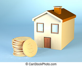 Home expenses. Some dollar coins and a small house. CG ...