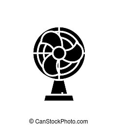 home fan icon, vector illustration, black sign on isolated background