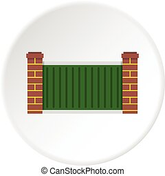 Home fence icon circle