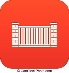 Home fence icon digital red