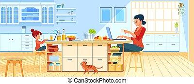 home., fiatal, ábra, nő, kényelmes, kitchen., otthon, anya, szabadúszó, workplace, használt laptop, művek, dolgozó, vektor, anyu, hivatal., laptop., konyha, karikatúra, lány, gyermek