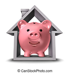 Home finances and real estate finance with a pink ceramic piggy bank in a house structure symbol representing the housing industry mortgage savings plan and residential tax saving strategy or a rental property paying rent.