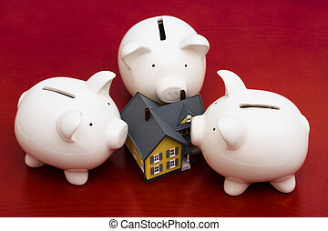 Home Finances - Home with piggy bank banks surrounding house...