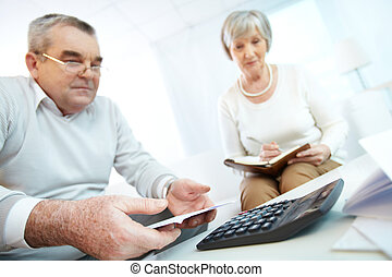 Home finances - Senior people planning their home finances