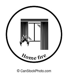 Home fire icon. Thin circle design. Vector illustration.