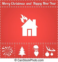 Home fire Icon Vector. And bonus symbol for New Year - Santa...