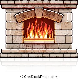 Home fireplace. Christmas hearth with fire