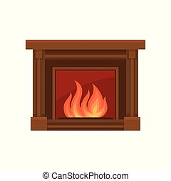 Home fireplaces with fire vector Illustration on a white background