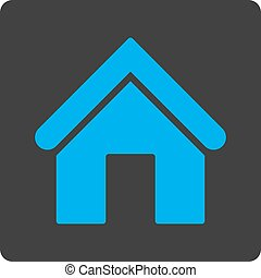 Home flat blue and gray colors rounded button