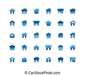 Home Flat Icon Set on white background.
