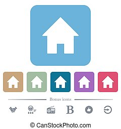 Home flat icons on color rounded square backgrounds