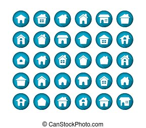 Home Flat Long Shadow Icon Set on white background.