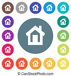 Home flat white icons on round color backgrounds. 17 background color variations are included.
