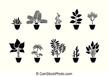 Home flowers icon set