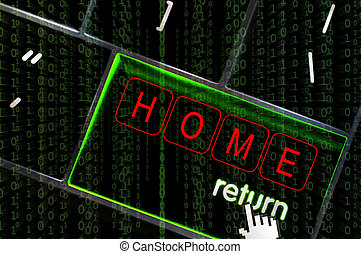 Home focus on the return button overlaid with binary code