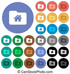 Home folder round flat multi colored icons