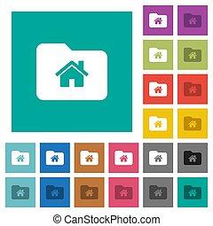 Home folder square flat multi colored icons