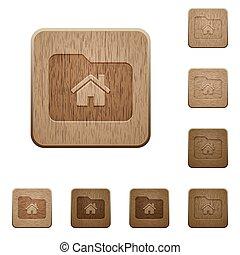 Home folder wooden buttons
