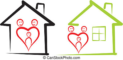 home for family - Silhouette of a happy family home