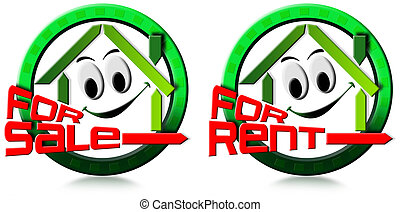 Home for sale and rent - Two icons with stylized smiling and...
