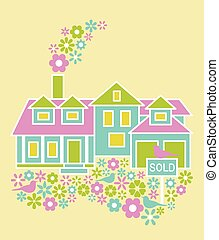 Home for Sale - House for sale concept illustration with...