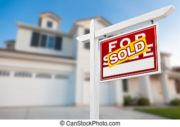 Home For Sale Real Estate Sign in Front of New House