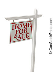 Home For Sale Real Estate Sign on White with Clipping