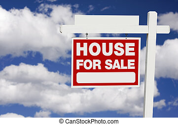 Home For Sale sign on Clouds - Home For Sale Real Estate...