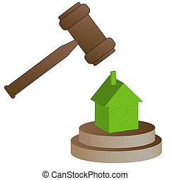 home foreclosure concept - gavel smashing house - home...