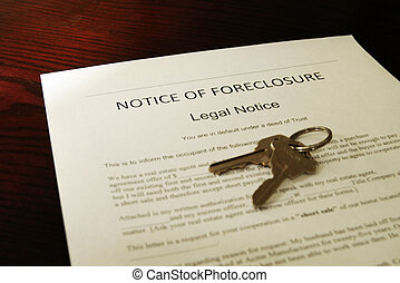 home foreclosure document and house keys