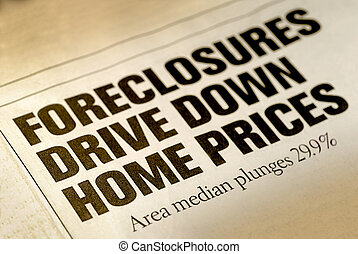 Home Foreclosure Headline - Selective Focus of Home...