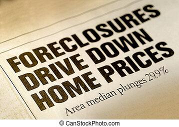 Home Foreclosure Headline - Selective Focus of Home...