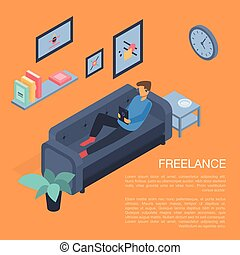 Home freelance concept background, isometric style