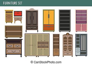 Home Furniture Cabinet Bookcase Lockers Wardrobe Cupboard And Drawer Chest Vector Icons