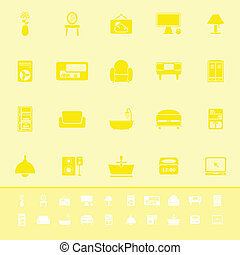 Home furniture color icons on yellow background