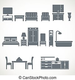 Home furniture design blackicons set - Home interior...