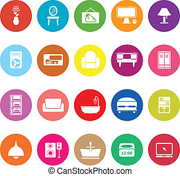 Home furniture flat icons on white background