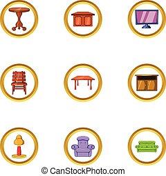 Home furniture icon set, cartoon style