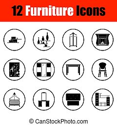 Home furniture icon set