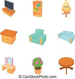 Home furniture icons set, cartoon style