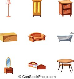 Home furniture icons set, cartoon style