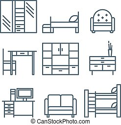 Home Furniture Icons Set - Home furniture icons set,...