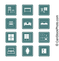Home furniture icons| TEAL series