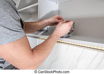 Home Furniture LED Stripes Lighting Installation