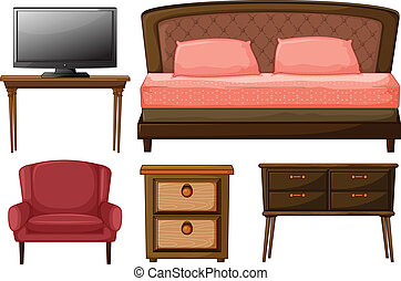 Home furnitures and television - Illustration of a...