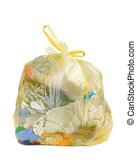 Yellow parcel with garbage isolated over white