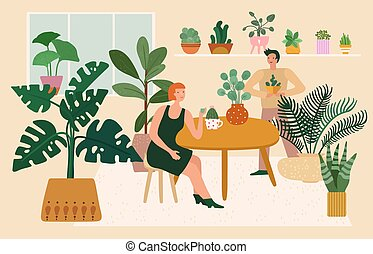 Home garden. Woman plant greenery, relaxing in cozy room. ...